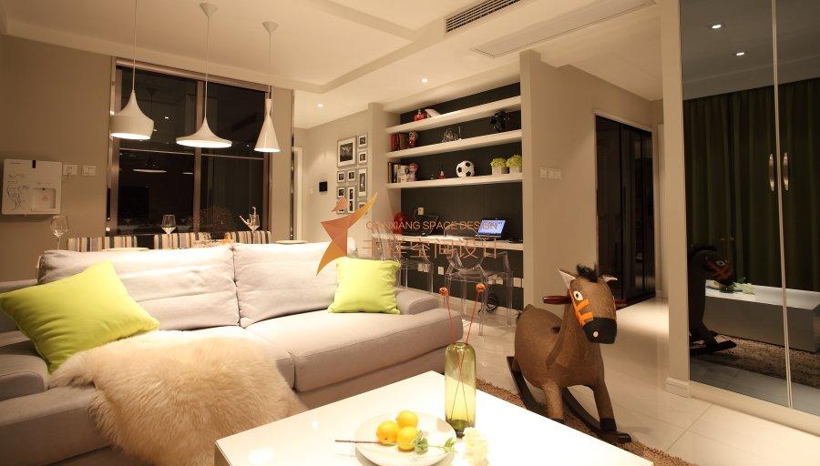 宝山区三房两厅现代简约暖色系列装