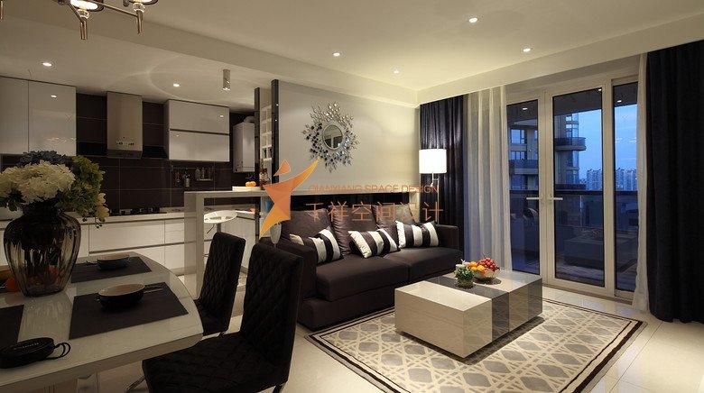 静安区两房两厅现代简约黑白风格装