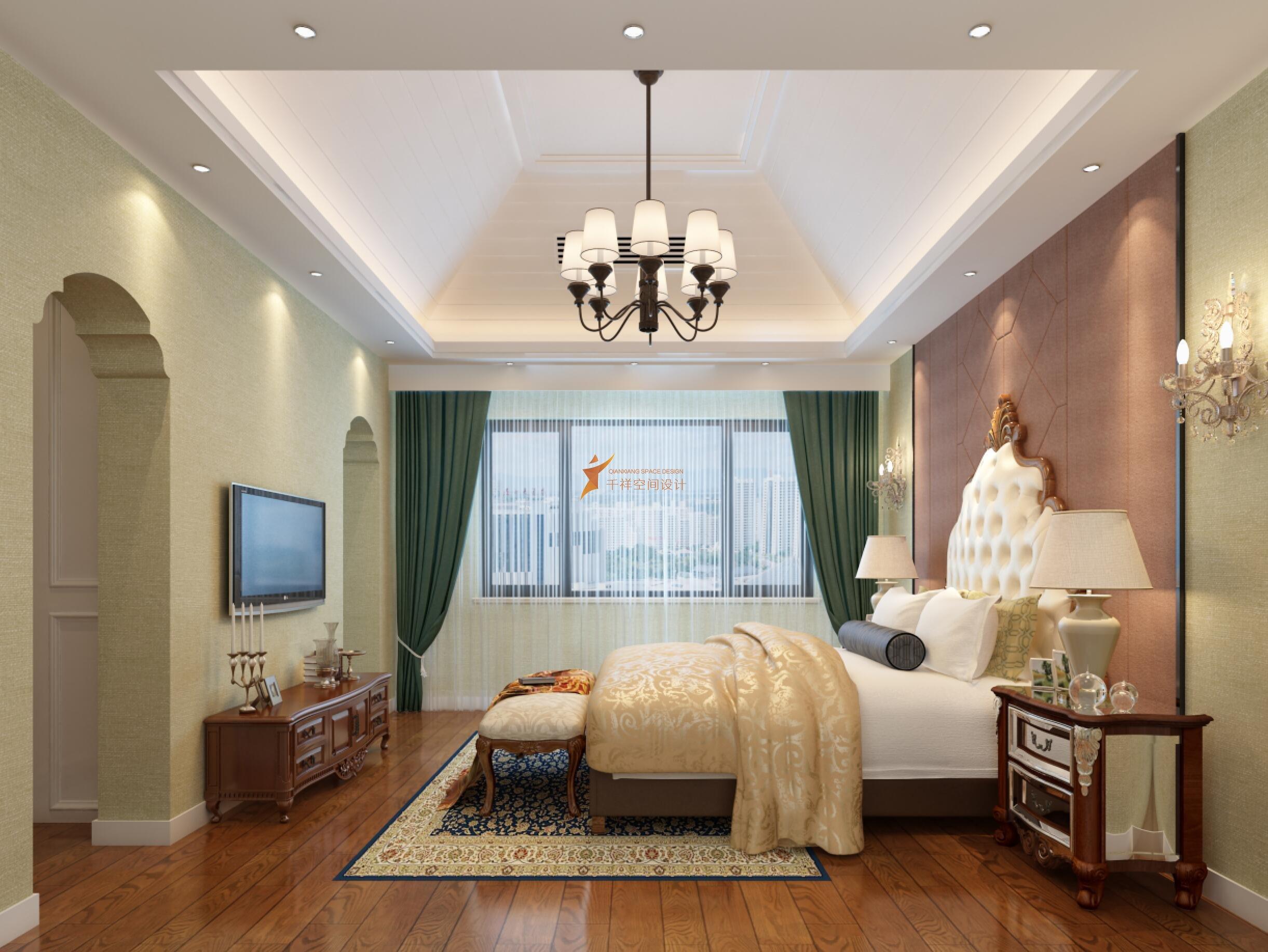 简美风格别墅装修设计-青浦区观庭别墅装修设计主卧室设计效果图-上海