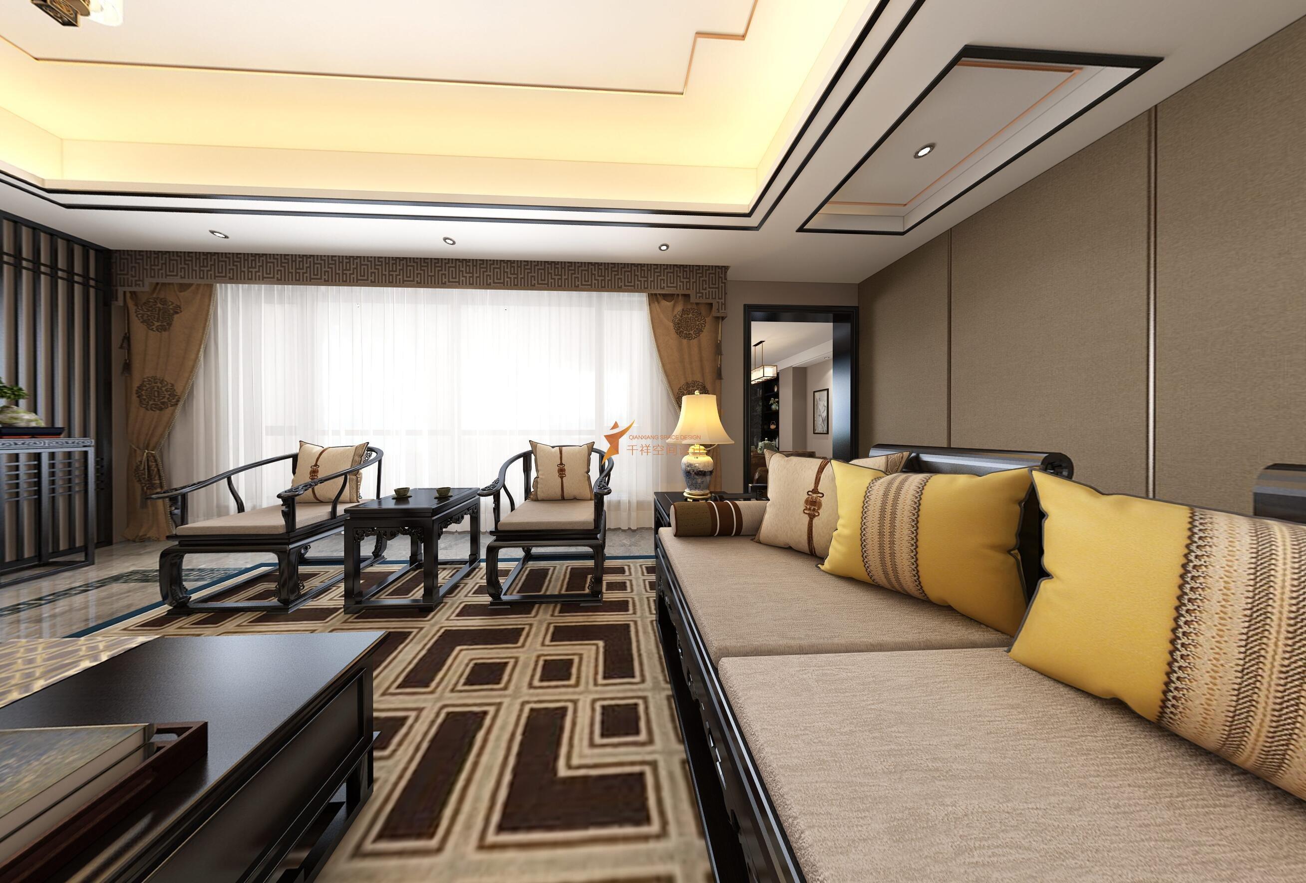 宝山区罗店镇美安路新中式风格别墅设计-宝山区新中式别墅设计-客厅设计效果图