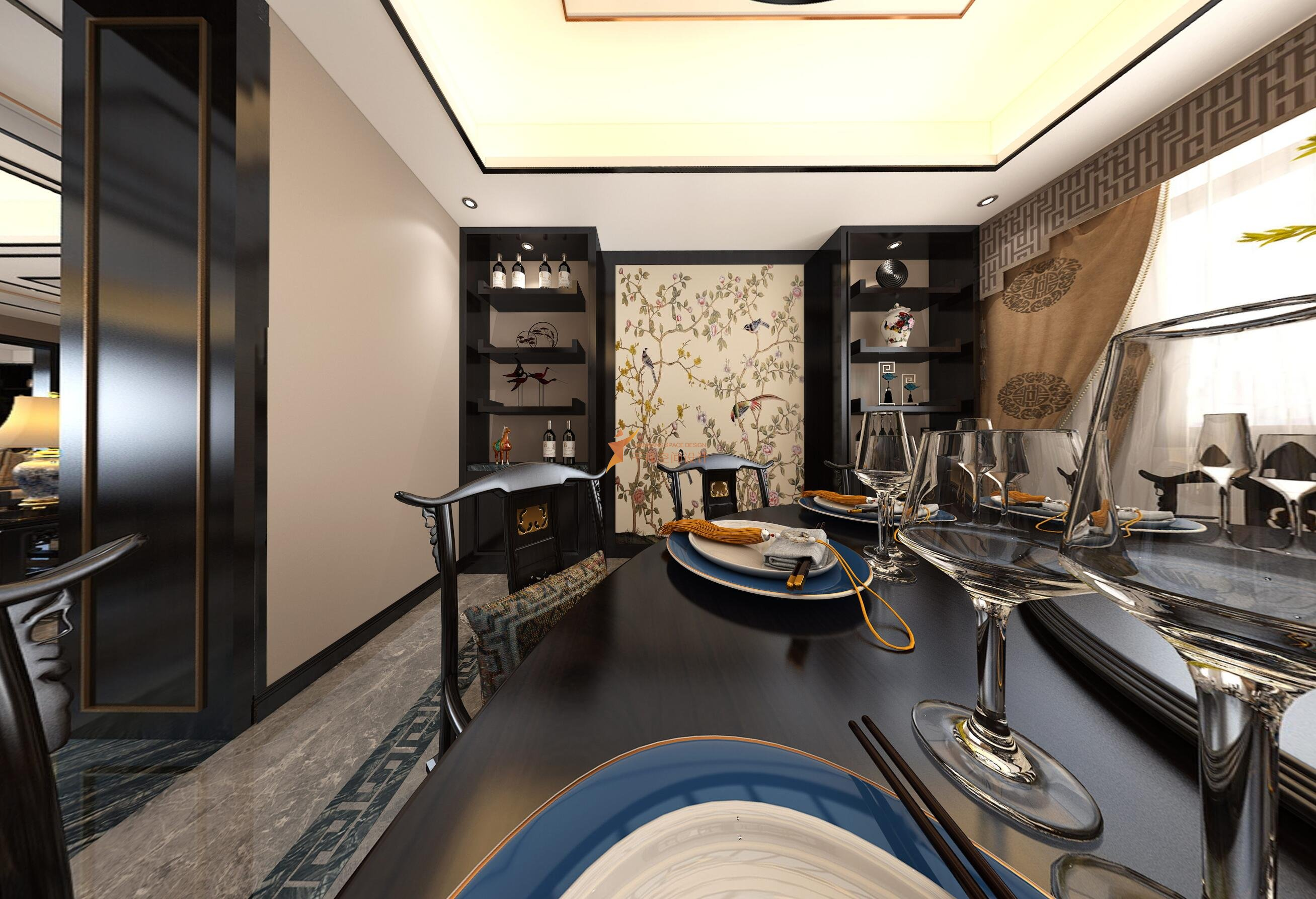 宝山区罗店镇美安路新中式风格别墅设计-宝山区新中式别墅设计-餐厅设计效果图