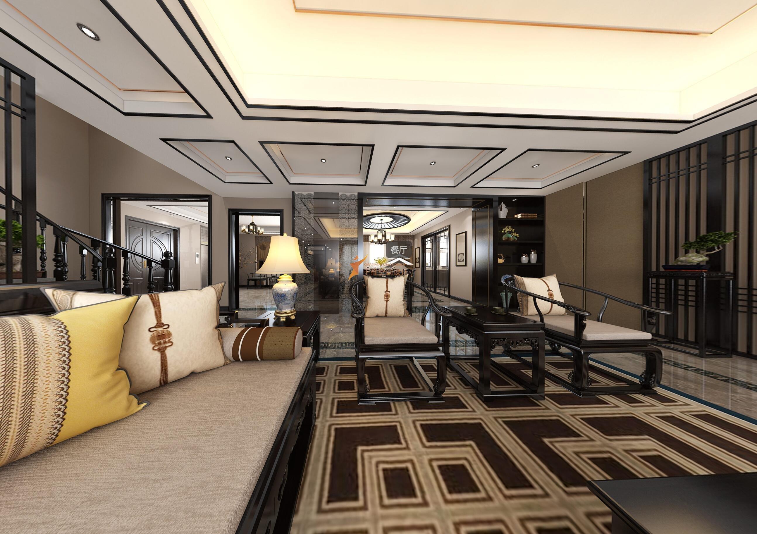 宝山区罗店镇美安路新中式风格别墅设计-宝山区新中式别墅设计-会客室局部设计效果图
